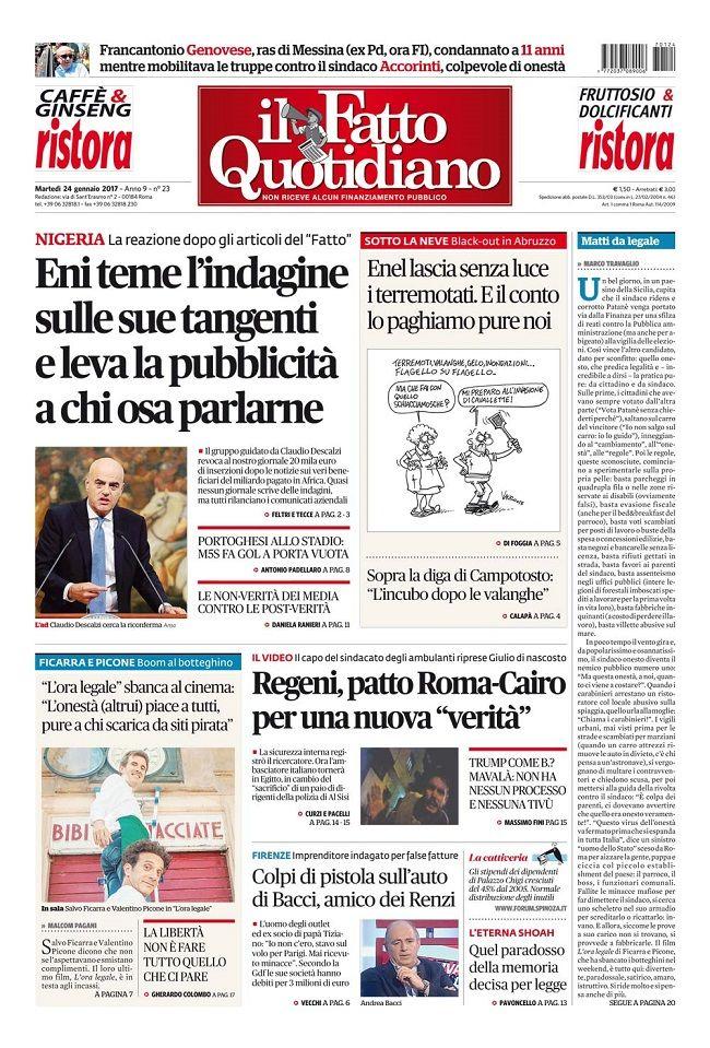 Il Fatto Quotidiano Prima Pagina Di Oggi 24 Gennaio 2017 Web