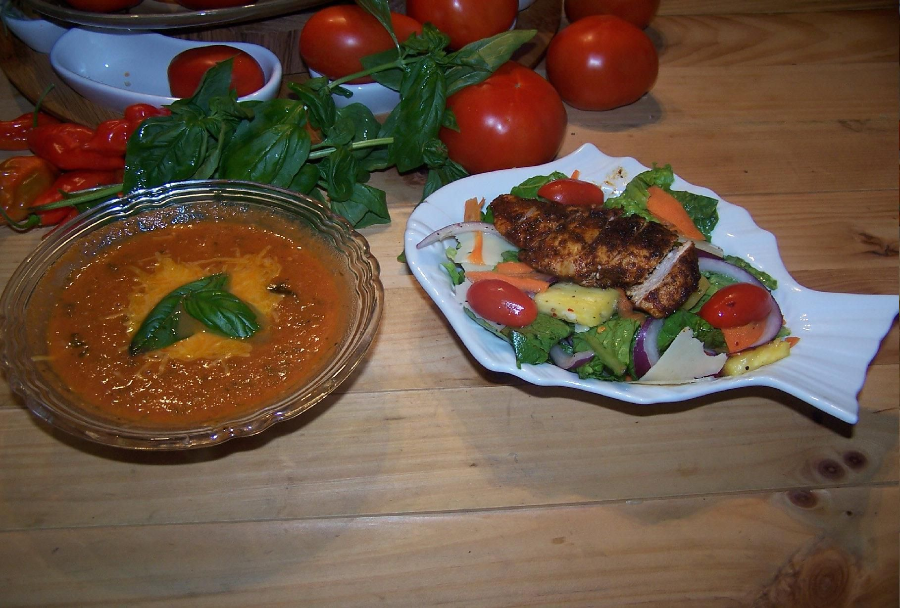 roasted tomato soup with basil and grilled chicken salad
