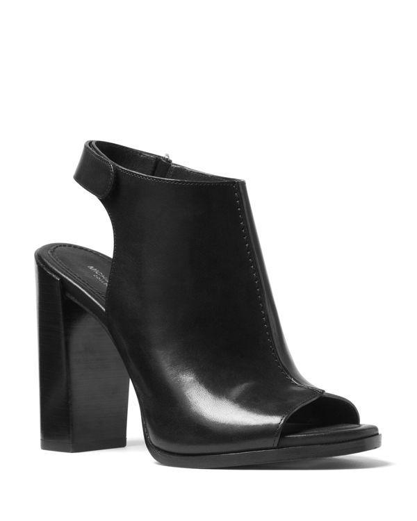 Michael Kors Maeve Leather Open Toe Block Heel Mule Sandals
