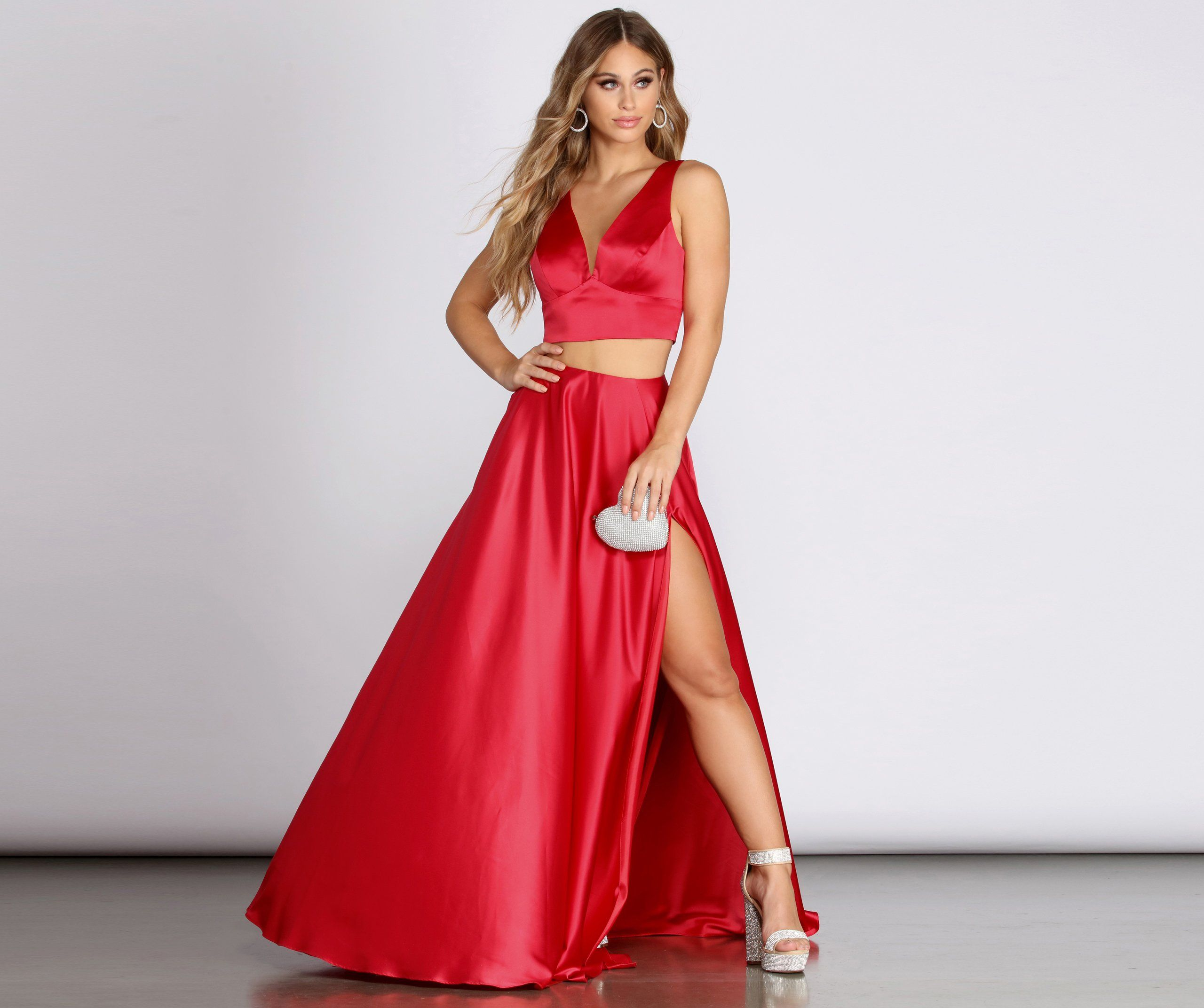 Juniper Satin Two Piece Gown In 2021 Two Piece Gown Crop Top Dress Prom Prom Dresses Red Two Piece [ 2145 x 2560 Pixel ]