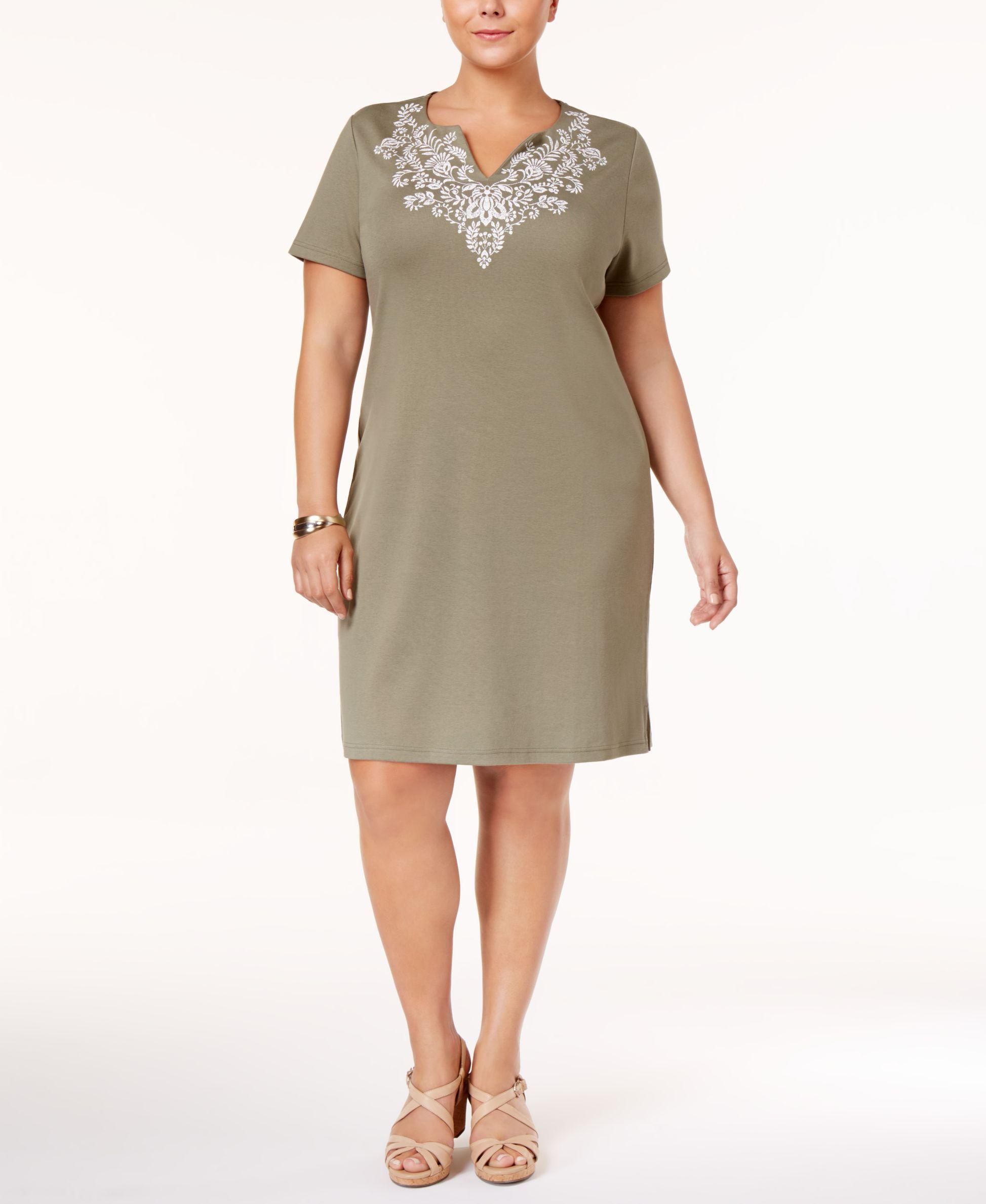 ea2b60f8fe049 Karen Scott Plus Size Cotton Embroidered T-Shirt Dress