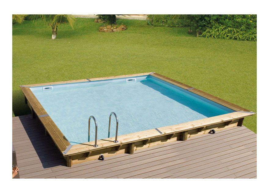 Piscine hors sol Bois FSC Rectangulaire LINEA 500x500 - H140cm