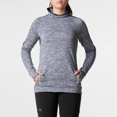 Maillot manches longues jogging femme run warm hood gris chine kalenji aced2f8e544