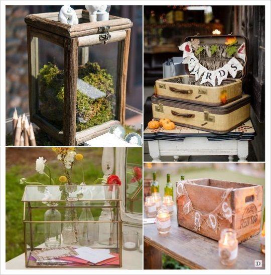decoration mariage bohème urne tirelire en bois valise terrarium caisse en  bois