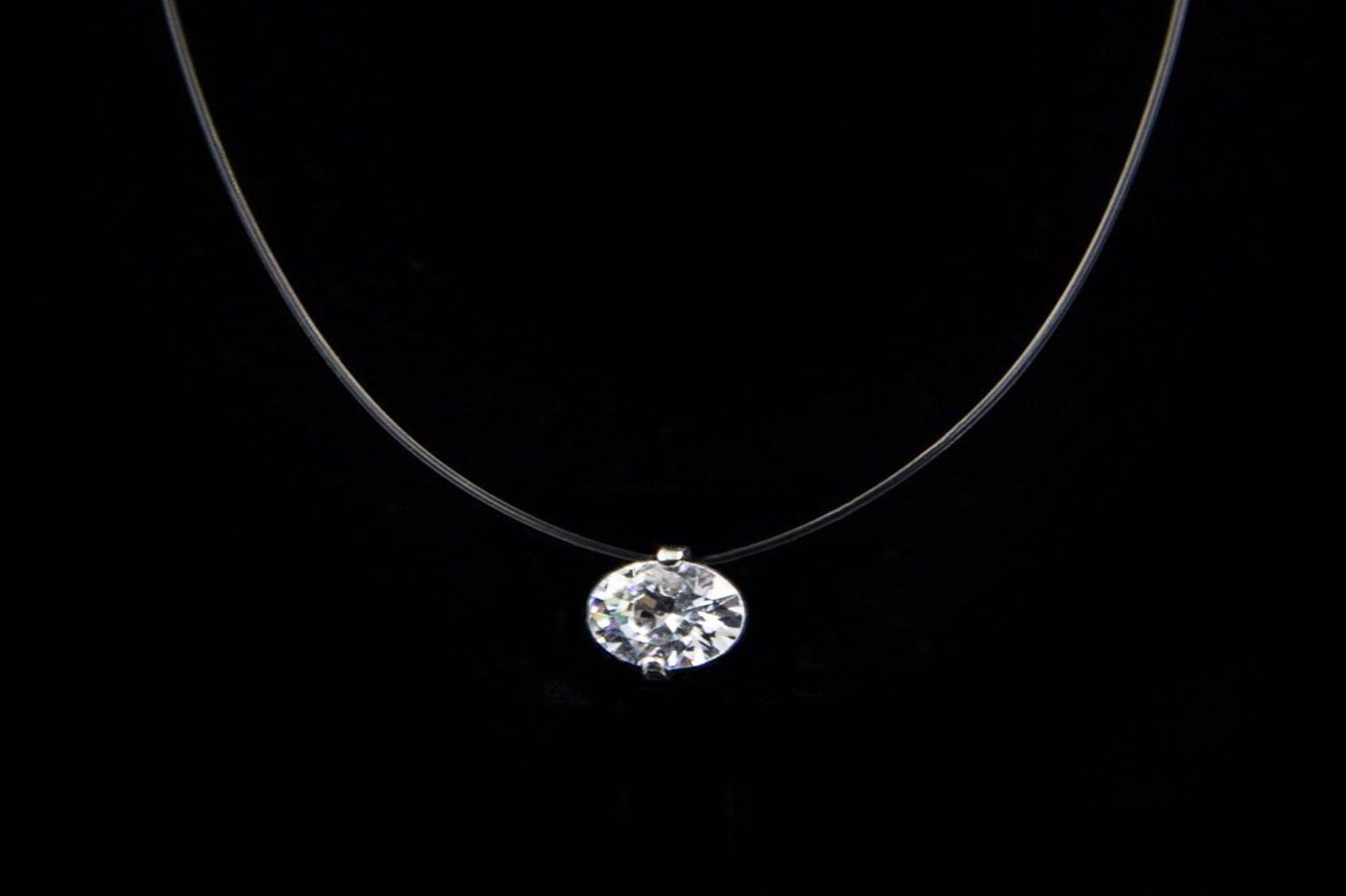 Women Trendy Transparent Invisible Fishing Line Square Zircon Choker Necklace