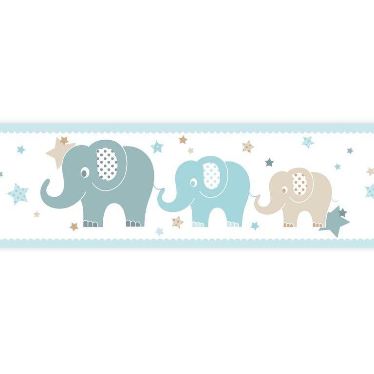 Kinderzimmer Bordüre Elefanten mint/beige/jade ...