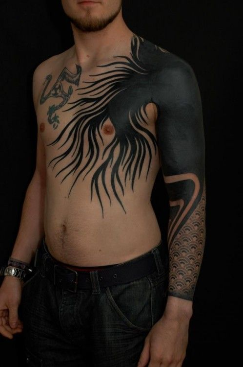 Heavy Blackwork By Gerhard Wiesbeck Blackout Tattoo Blackwork Tattoo Black Line Tattoo