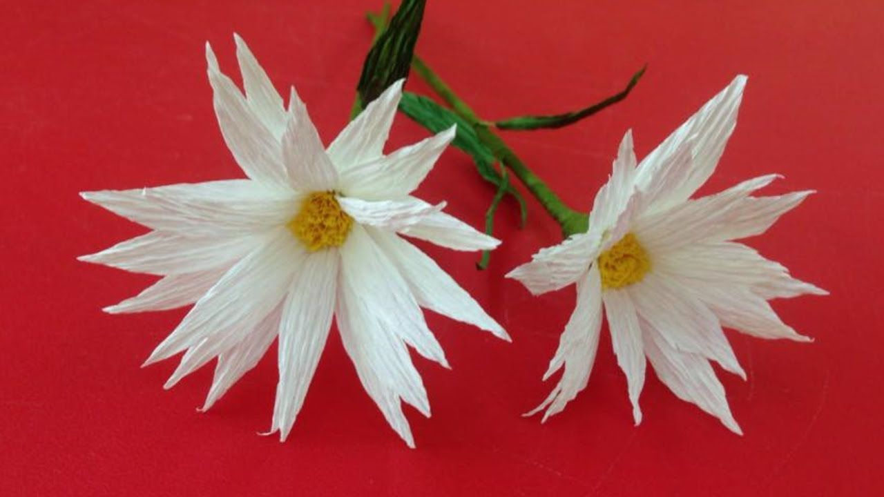 Tutorial Make A Daisy With Crepe Paper Origami Flower Folding
