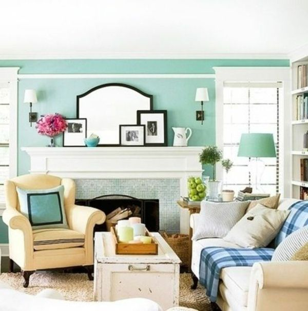 Kleines Wohnzimmer Mit Wandgestaltung Hell Blaue Wand Wohnzimmer