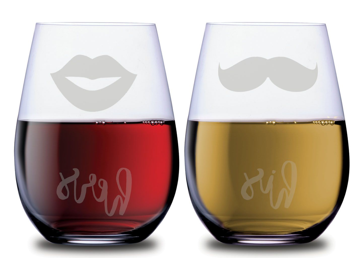 His And Hers Mustache Lips Stemless Wineglass Set Of 2 Glasses In 2020 Couples Wine Glasses Wine Glass Gifts For Wine Lovers