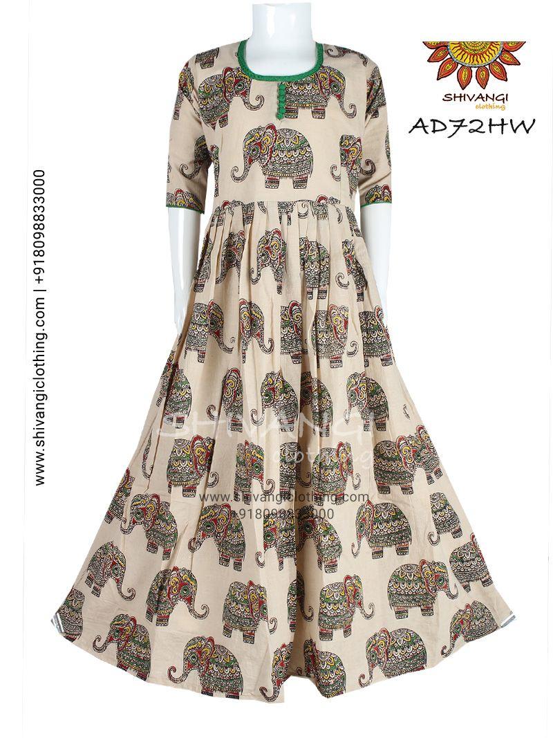Beautifully designed figure printed kalamkari cotton gown