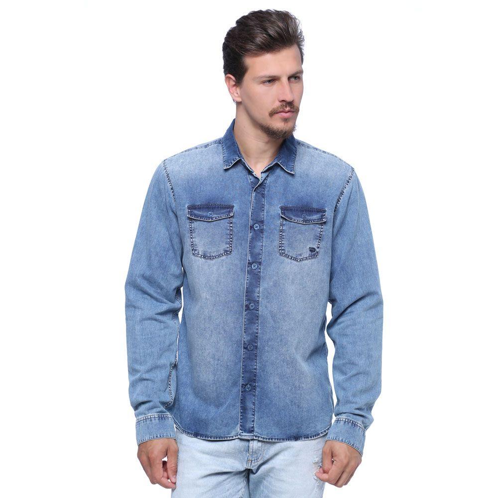 Camisa Masculina Manga Longa Jeans - Damyller  61e40f01b461d