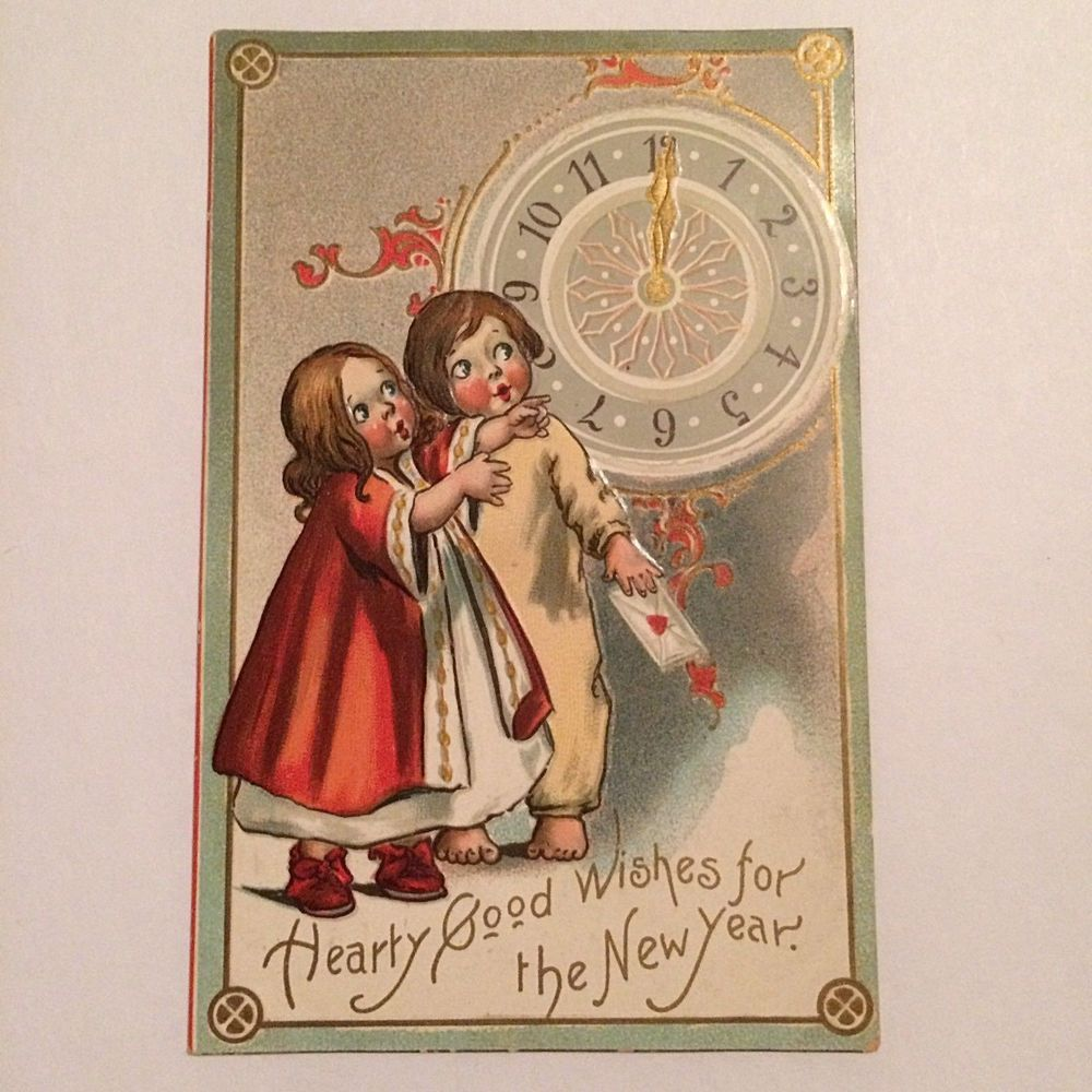 Antique Raphael Tuck & Sons Embossed Postcard New Year