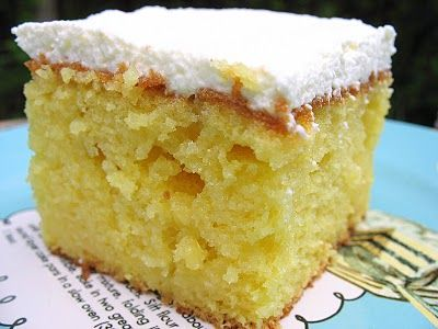 3 Ingredients Old School Cake Yellow Cake Mix Cream Of Coconut And Sweetened Condensed Milk Almost As Good As Being O Drippy Cakes Cake Recipes Desserts