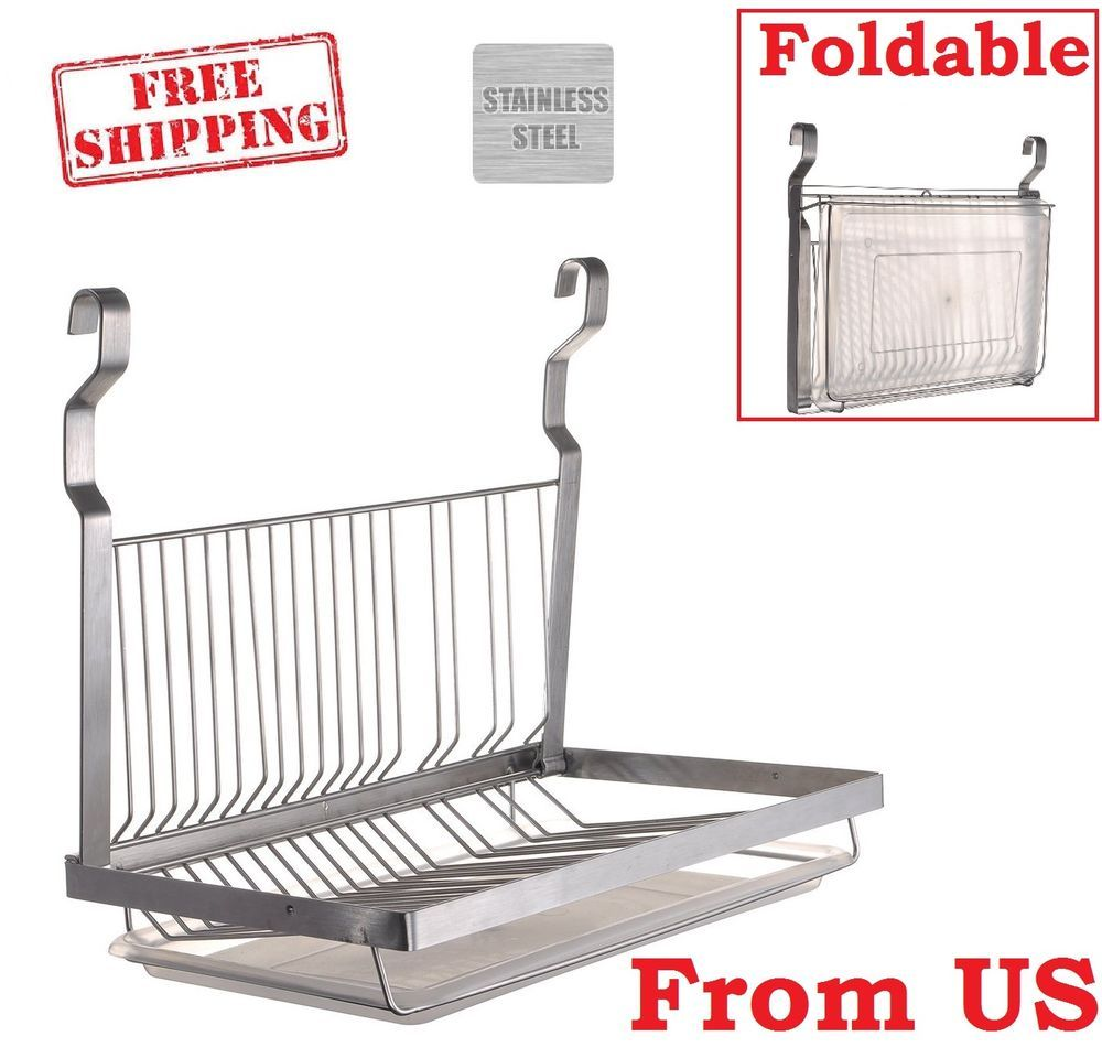 Stainless Steel Dish Rack Hanging Plate Drain Board Rail Pot