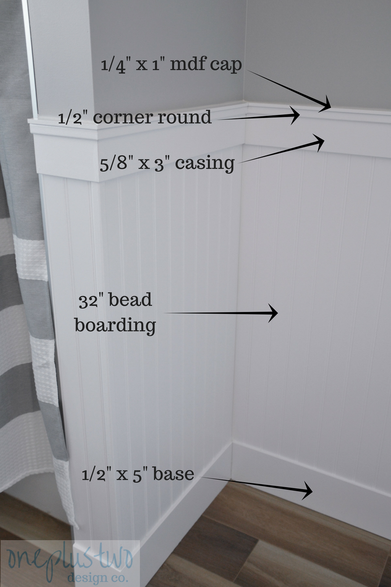 How To Diy Beadboard Paneling In 5 Easy Steps Oneplustwo Design Co Interior Design And Home Decorating Beadboard Bathroom Beadboard Wainscoting Beadboard