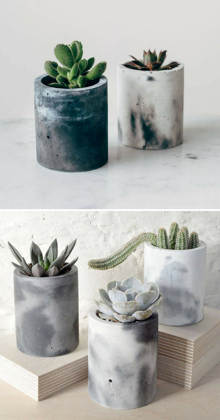 Gorgeous Marbled Cylinder Concrete Flower Pots With Succulents I Love These The Perfect Home Decor Diy Cement Planters Concrete Plant Pots Cement Flower Pots