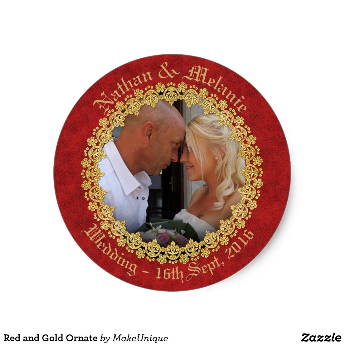 Red and Gold Ornate Classic Round Sticker | Wedding Invitations and ...