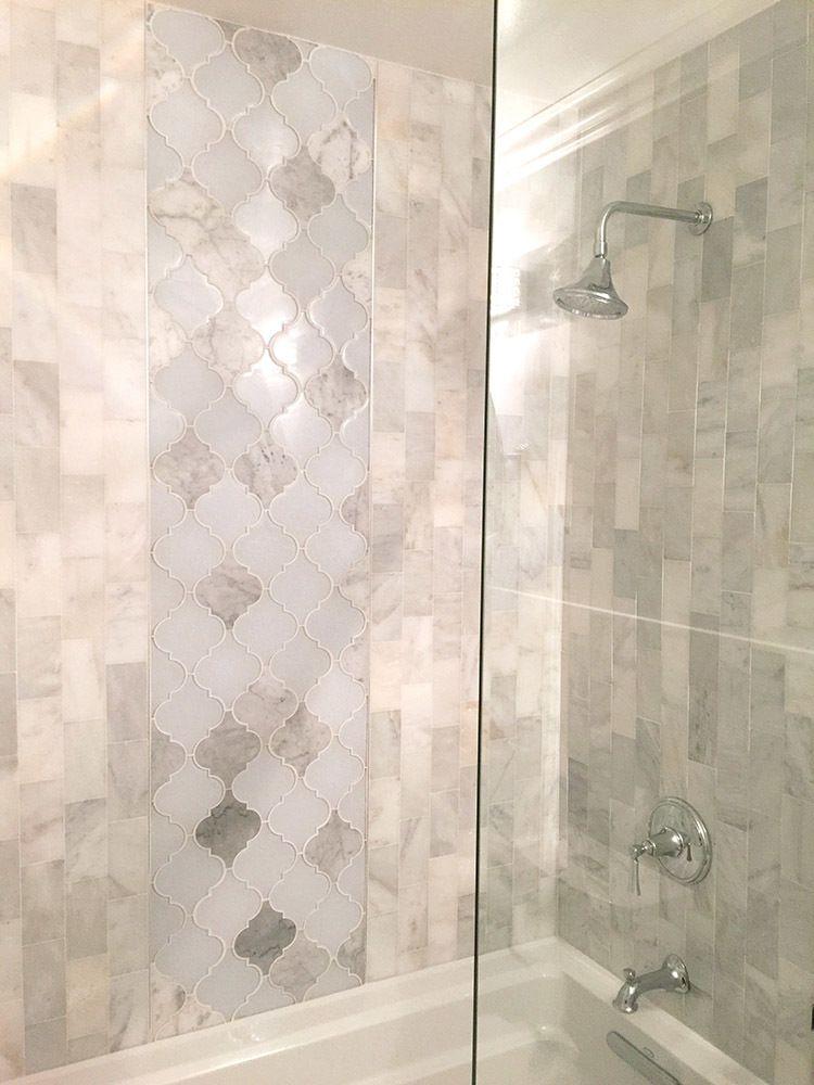 Clover arabesque blanco mosaic bathroom also home pinterest