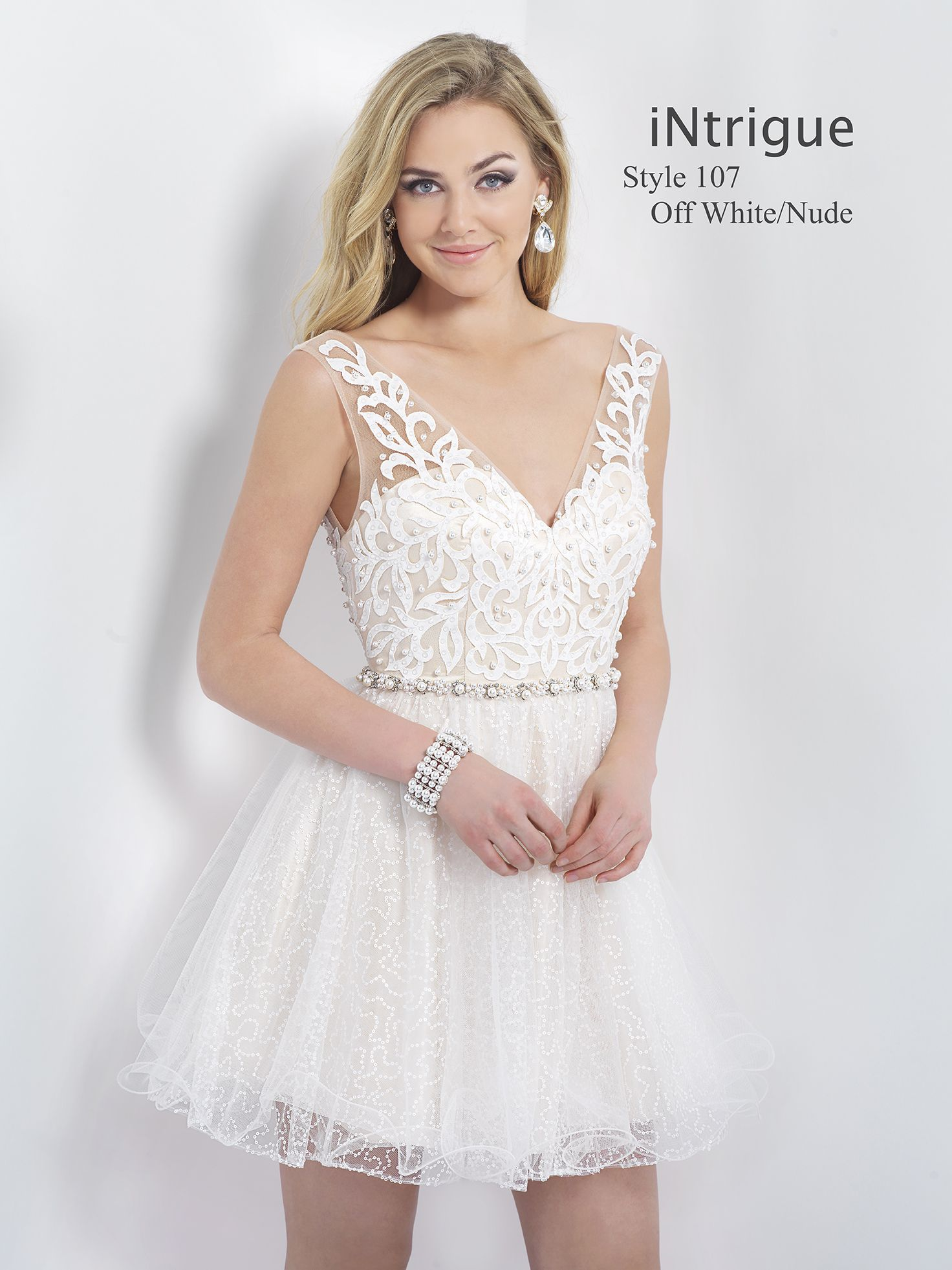 Off white blush intrigue blushprom shortdress