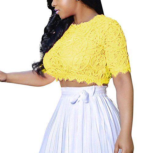 3d8daa1f4b28a Women Sexy Lace Hollow Crop Top Blouse Yellow S Joseph Co... https
