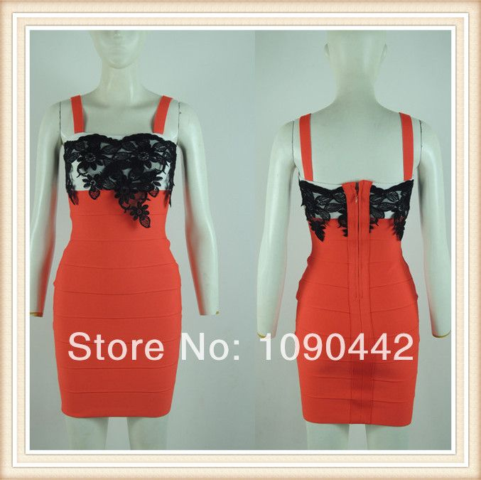 hl elestic knitted red bandage dress 2014 new arrival women elegant DM657 US $39.99