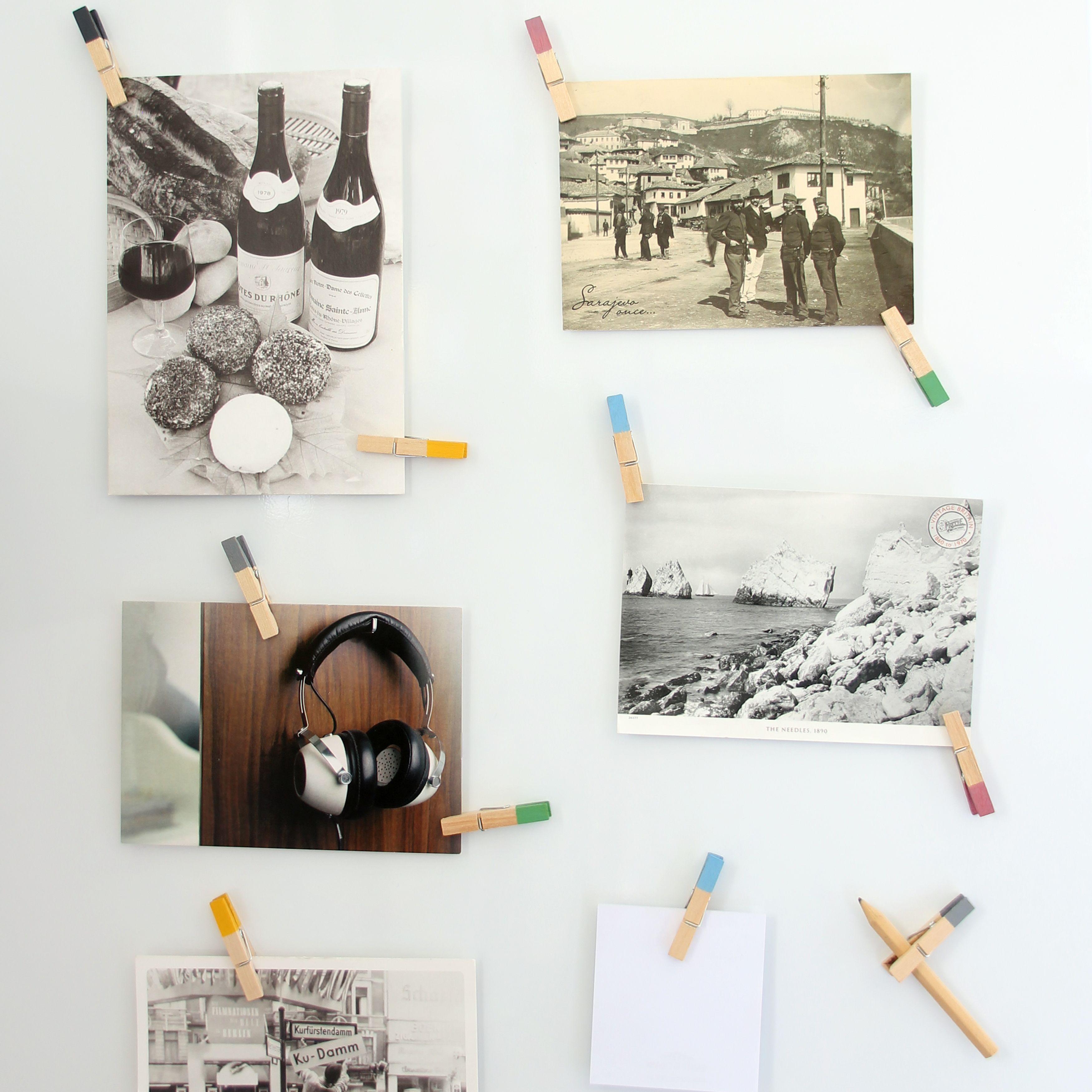 schwarz weiss fotos sch n gestalten bunte k hlschrank holzklammern magneten mit einem neodym. Black Bedroom Furniture Sets. Home Design Ideas