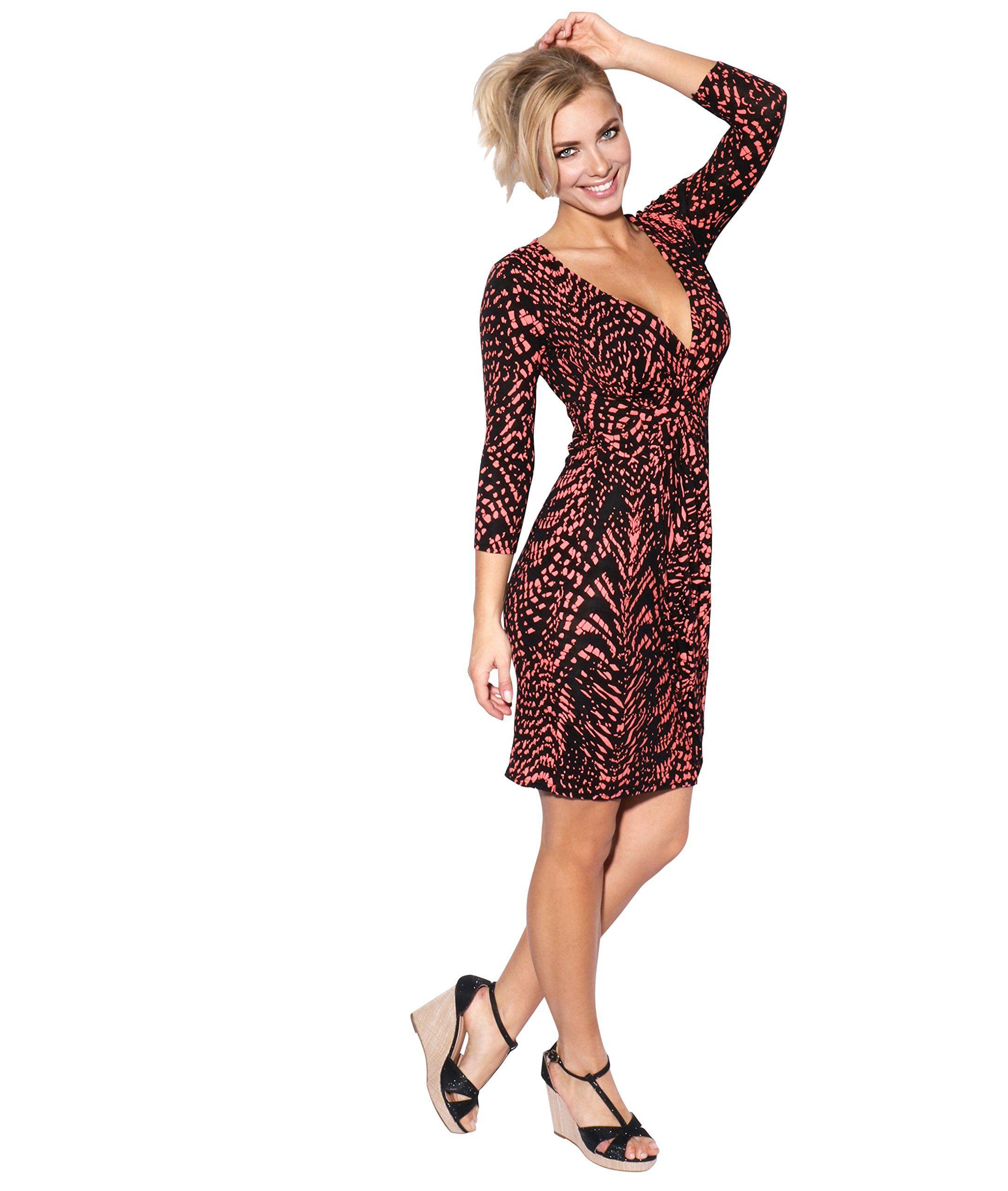 Krisp Womens Knee Length Wrap Dress 3 4 Sleeve Jersey Midi 8 Coral Black Click Image To Review More Details Note Amazon Fashion Midi Wrap Dress Wrap Dress [ 2560 x 2166 Pixel ]