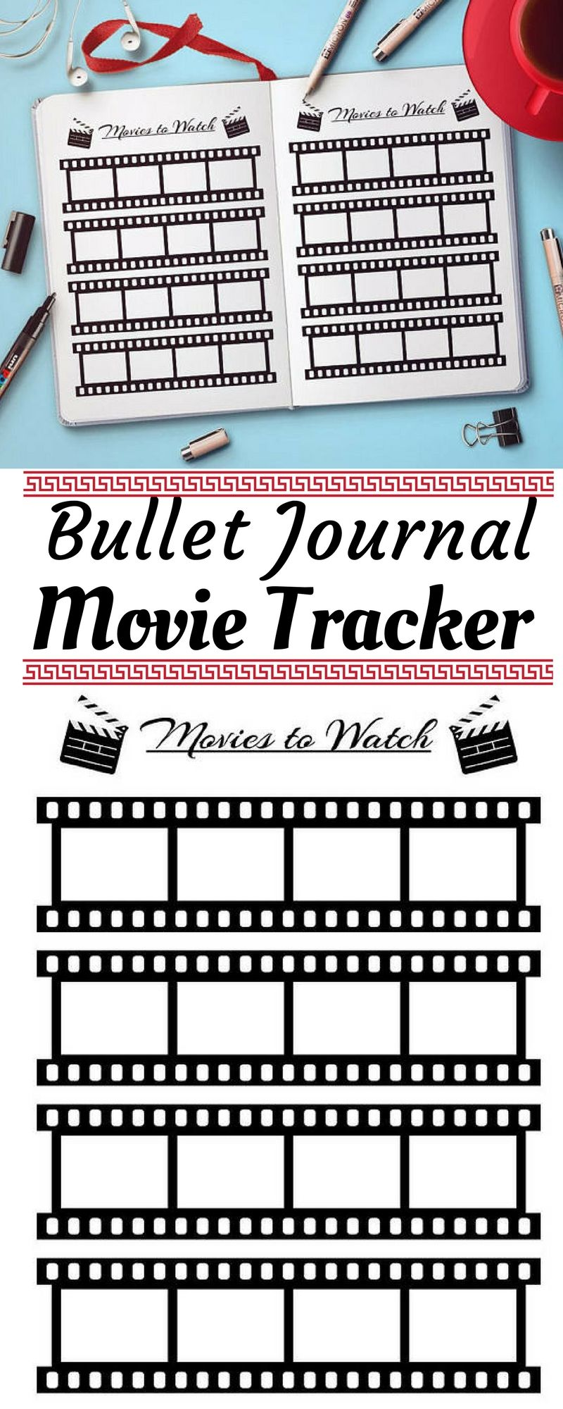Bullet Journal Movies To Watch Planner Printable Movie Tracker