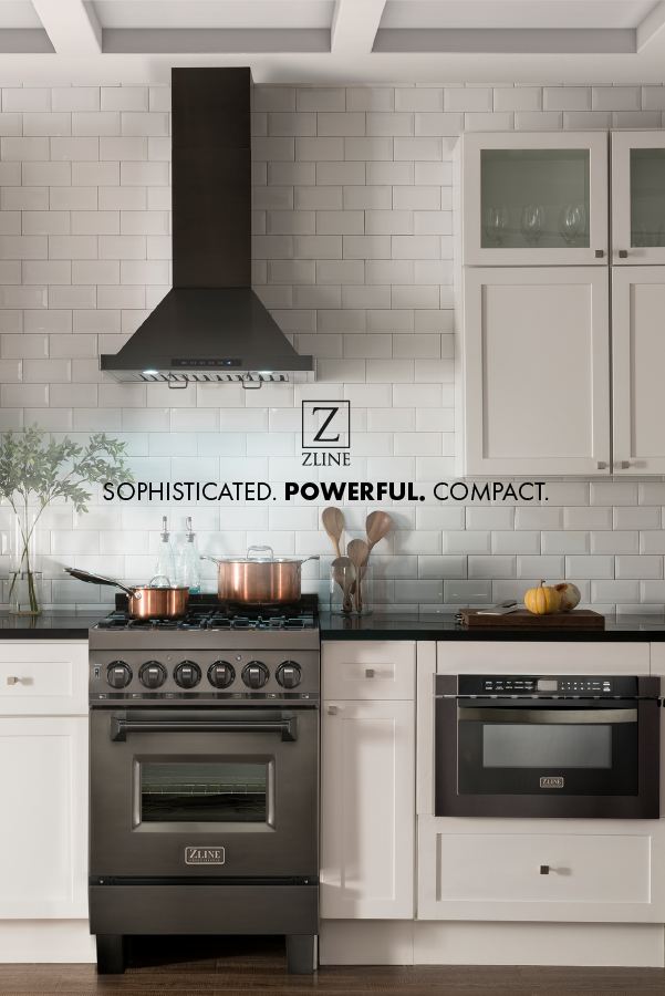 Now Available The Zline 24 Black Stainless Range Hood Showcasing A Beautiful Bold Finish This Range Hood I Stainless Steel Range Hood Sleek Kitchen Kitchen
