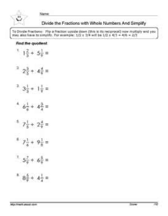 Division: Divide the Fractions with Mixed Numbers Worksheet (PDF ...