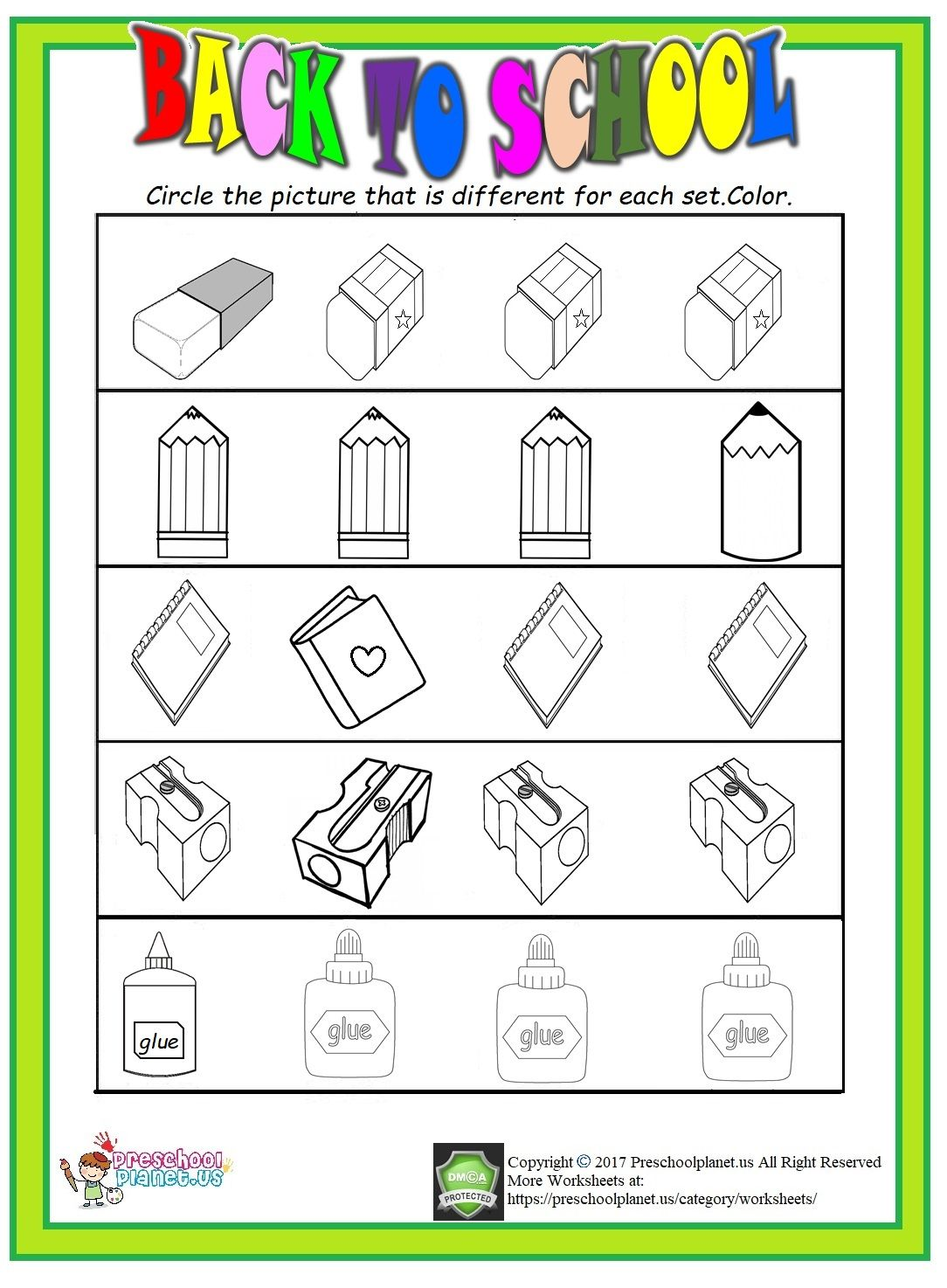 Back To School Worksheet Same And Different