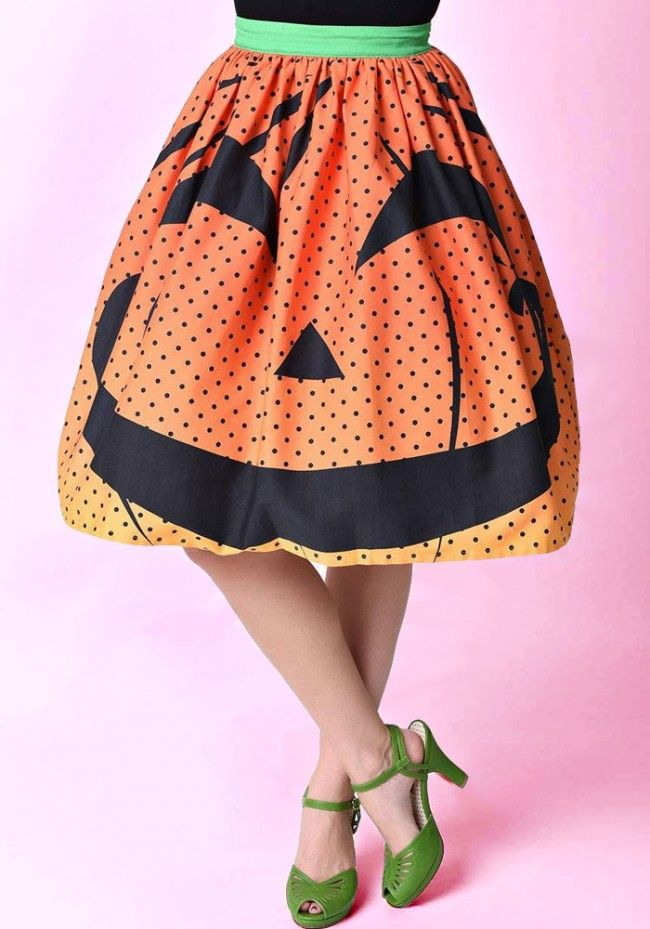 Unique Vintage Pumpkin Dot High Waist Circle Skirt
