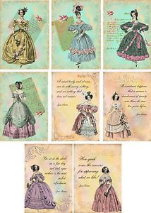 Vintage inspired 8 Jane Austen Victorian note Cards tags scrapbooking crafts - Buscar con Google