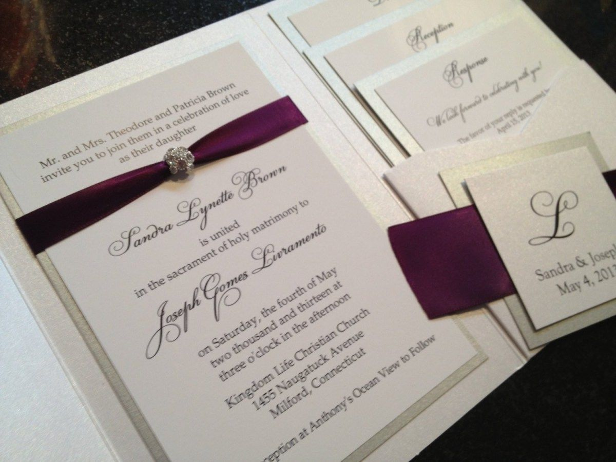 Wedding Invitations With Purple Ribbon Purple And Cream