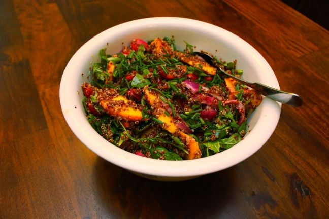 Quinoa Salad with Peaches and Pickled Onions