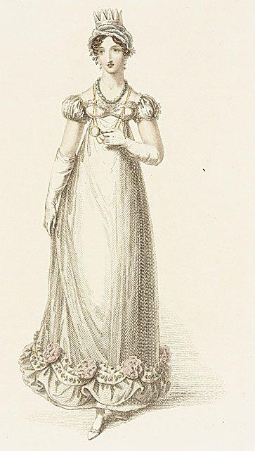 Ackermann's Repository, Evening Dress, September 1818. OMG teeny crown!