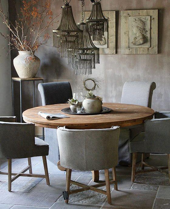 Ronde eettafel teak kuipstoeltjes kuipstoeltje kruispoot for Eetkamerstoelen landelijk interieur