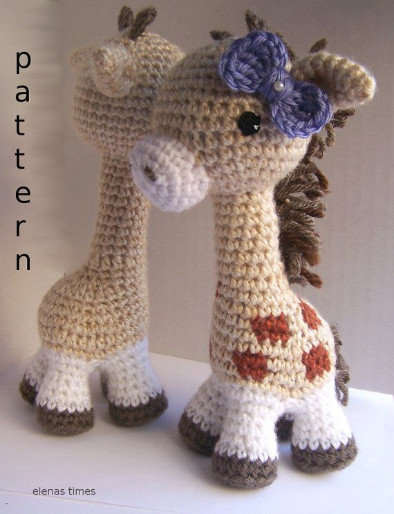 Baby Giraffe with CrochetBow-Instant Download Crochet Pattern-Toy ...