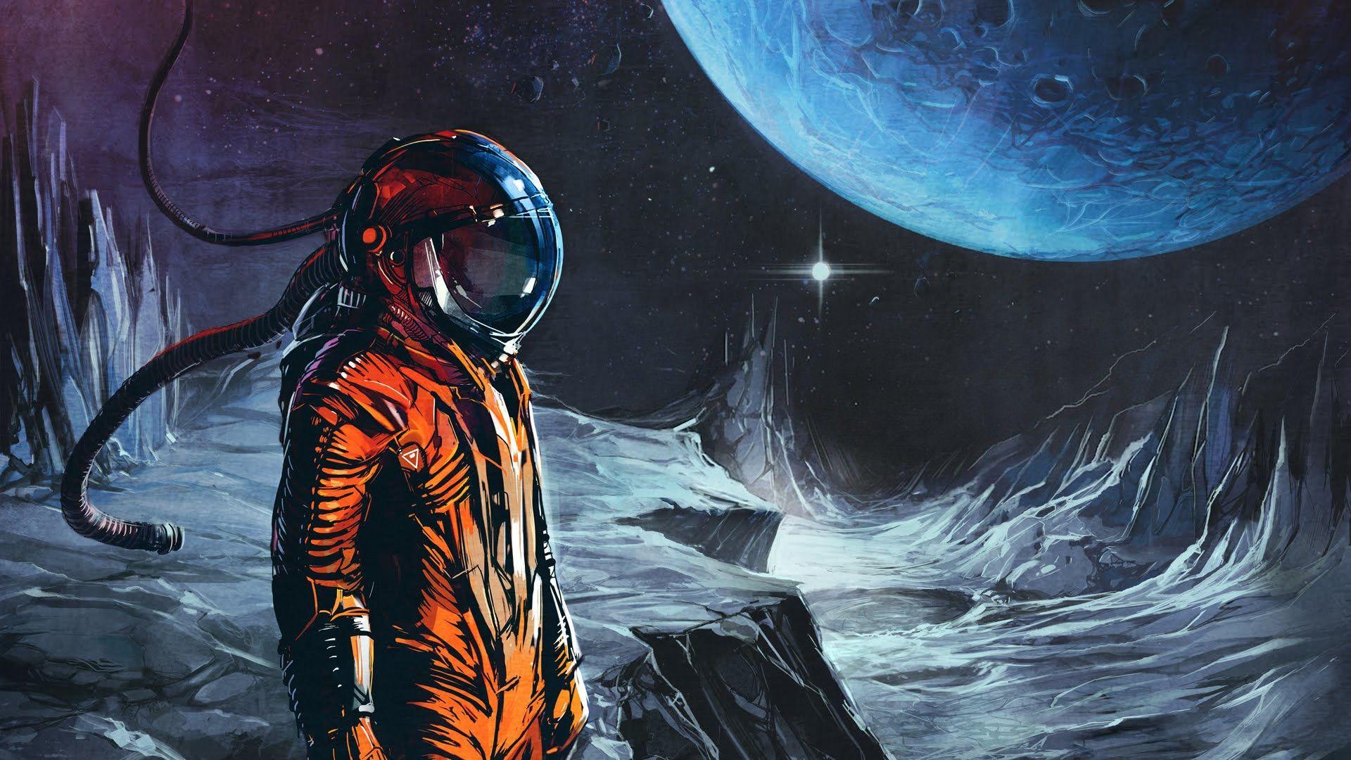 Retro Sci Fi Wallpaper Moon Art Print Moon Painting Space Art