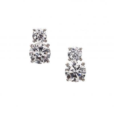 Two Stone Stud Earrings Andrew Prince Jewellery