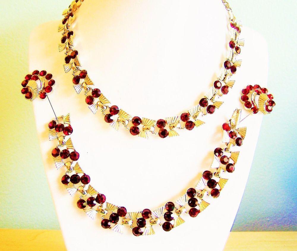 Vintage art deco red rhinestone claudette parure necklace bracelet
