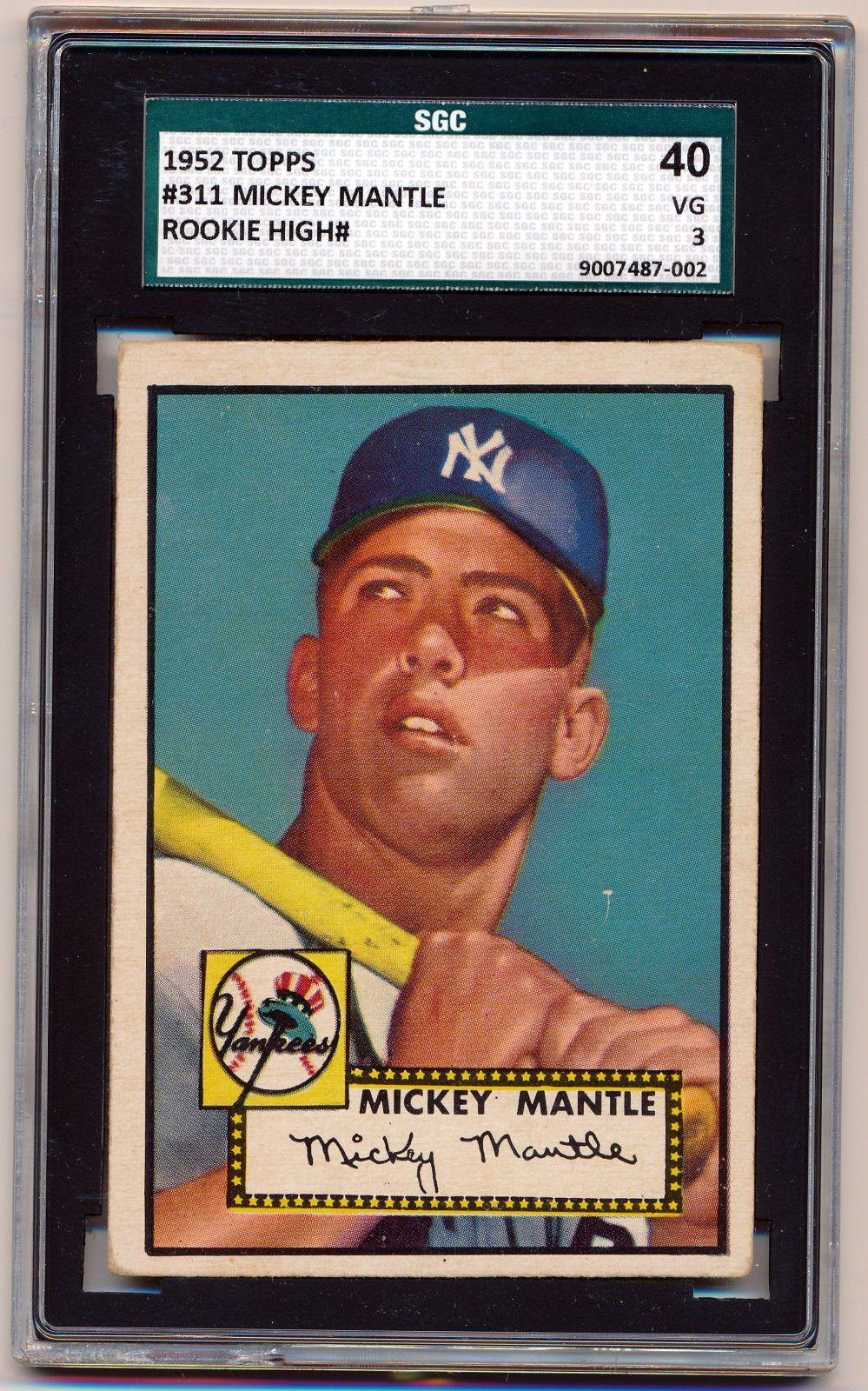 1952 topps 311 mickey mantle sgc 403 vg hof ny yankees