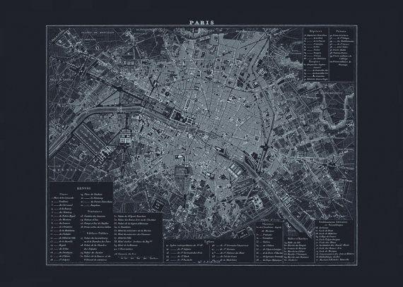 BLUEPRINT PARIS MAP - Old Map of Paris France, Office Wall Art - new old blueprint art