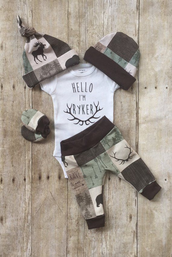 Photo of Woodland Boys Coming Home Outfit, Bear Moose Personalized Baby Boy Outfit,  Newborn Boy Set, Baby Shower Gift, Baby Boy Layette and Hat Set