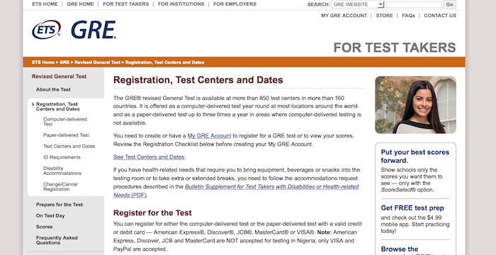 GRE Sign Up