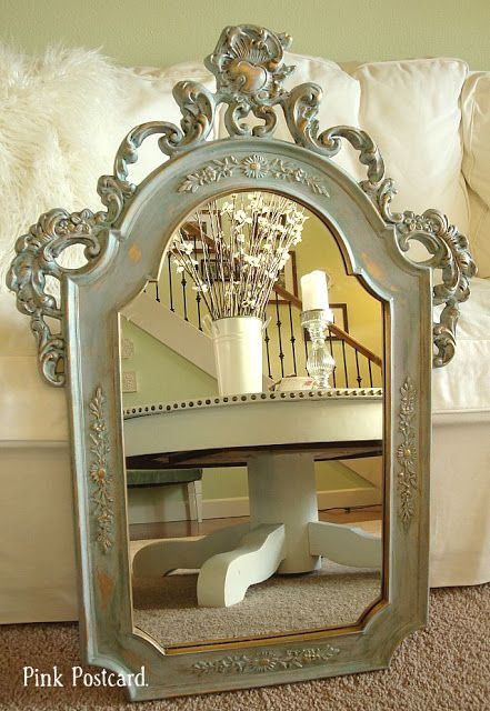 Pink Postcard Making Over A Gold Mirror Gold Mirror Gold Framed Mirror Mirror