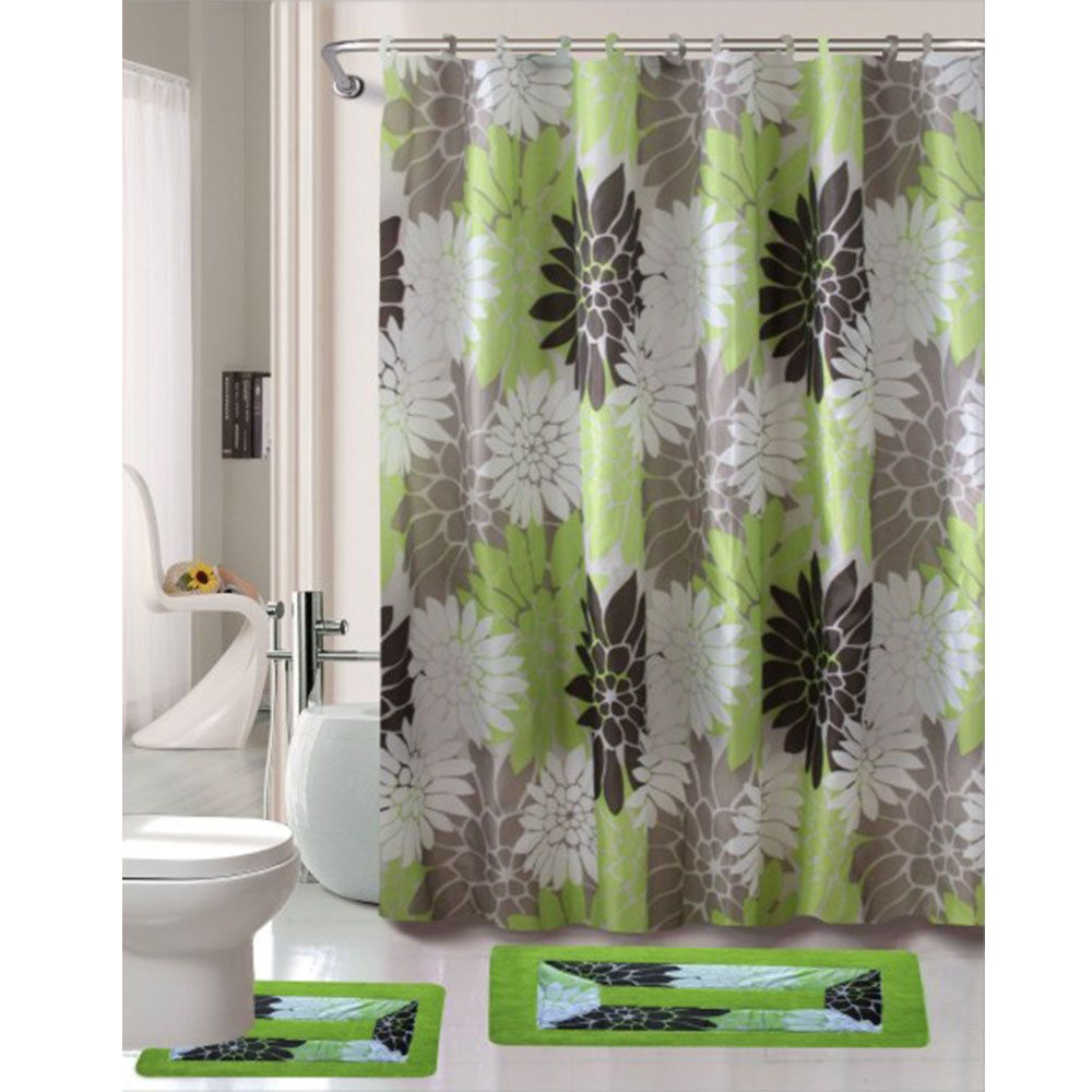 cortlandt collection 15 pc bathroom accessories set bath mat contour rug shower curtain with hooks erica sage