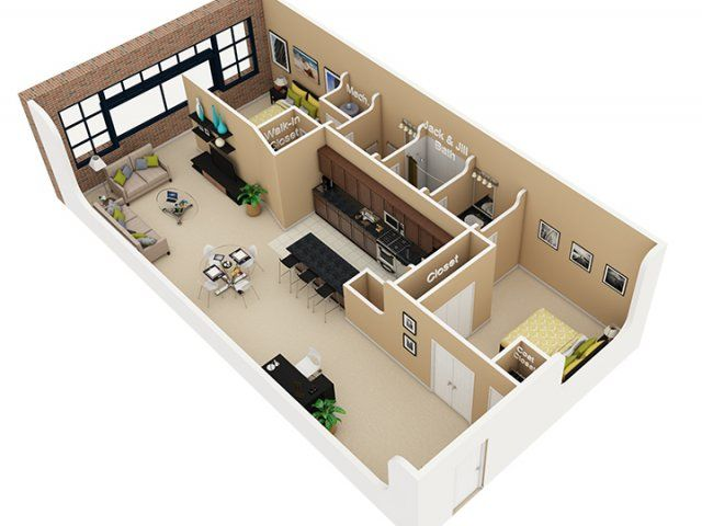 2 Bedroom, 1.5 Bath Floor Plan Of Property Cobbler Square Loft Apartments.  Luxury Apartment