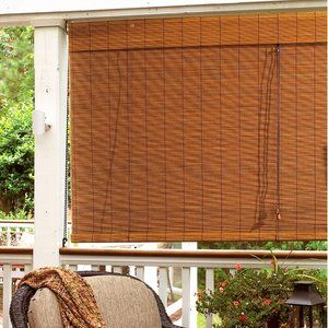 Radiance Imperial Matchstick Bamboo Roll Up Blind With 6 Valance In Fruitwood Patio Blinds Outdoor Blinds Bamboo Blinds